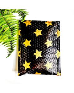 #0 Gold Stars Black Poly Bubble Mailers: 6.5x10 #SmileMail