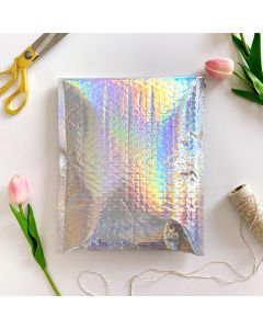#2 Holographic Metallic #SmileMail® Poly Bubble Mailers: 8.5x12