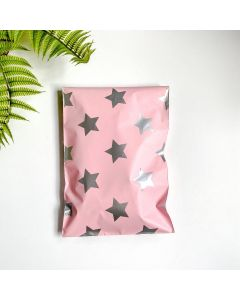 Silver Stars  Pink #SmileMail Poly Mailers 6x9